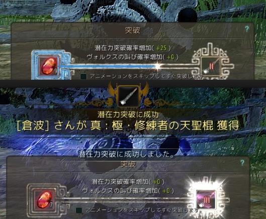サブ子のエルシュ武器と修練者の天聖棍をIIIに強化02