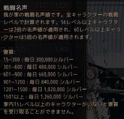 戦闘名声報酬