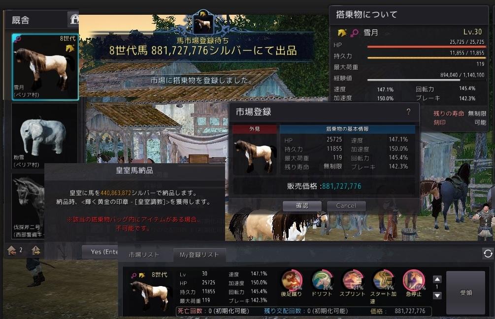 幻想馬と駿馬の価格が3倍になったので8世代馬売り飛ばしてきた01