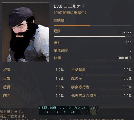 LV10宝探し船員の性能