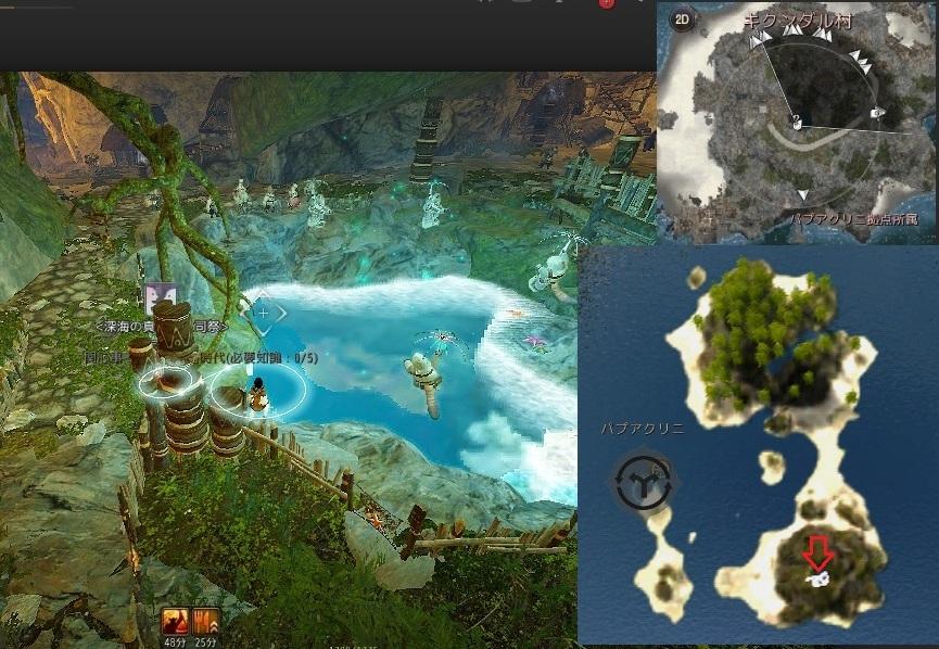 ザブオの鍬で取る海底洞窟の真珠貝の位置01
