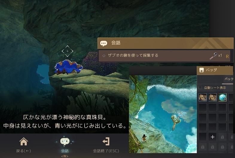 ザブオの鍬で取る海底洞窟の真珠貝の位置03
